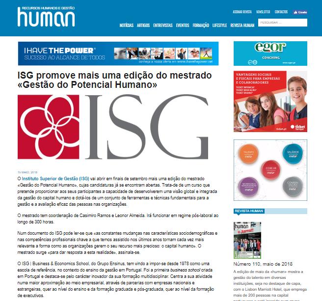ISG promove mais uma edição do mestrado «Gestão do Potencial Humano»