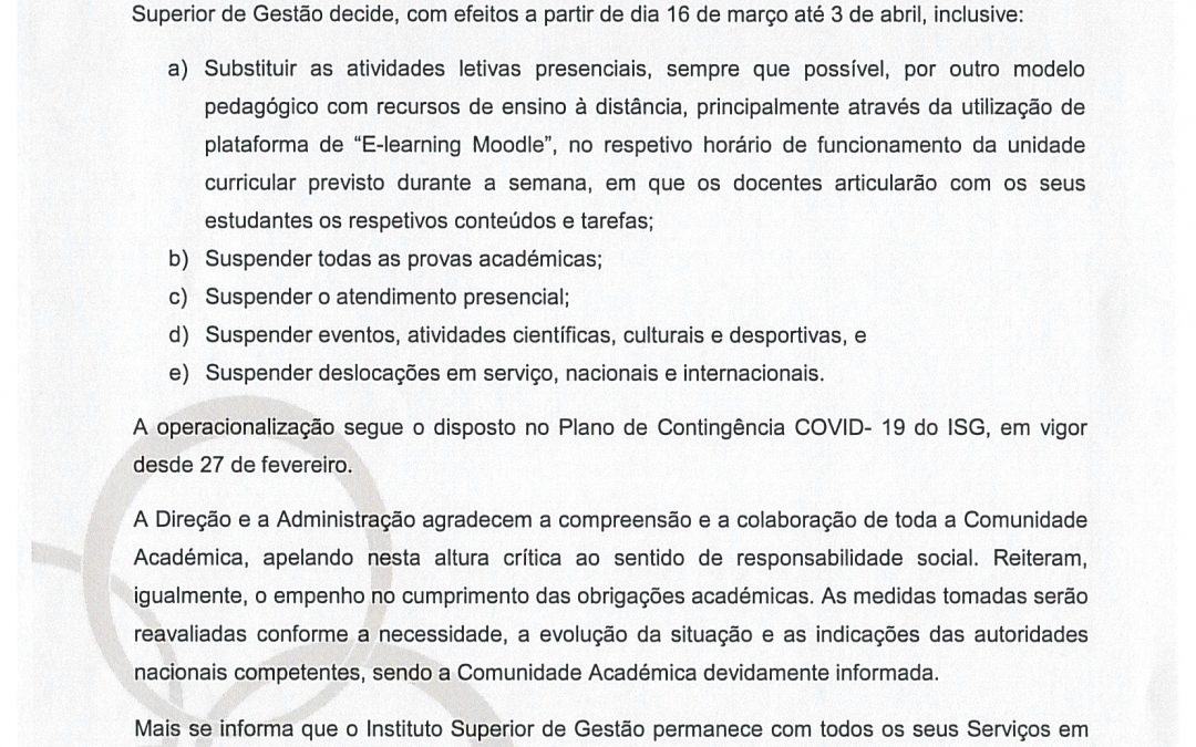 COMUNICADO ISG – 12.03.2020