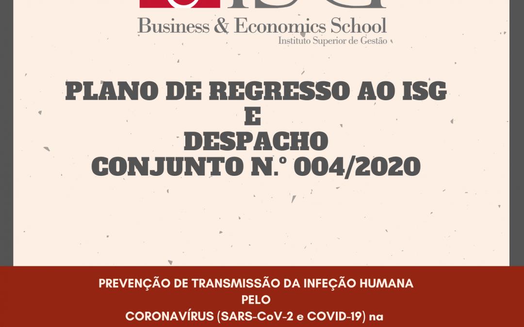 Plano de Regresso ao Instituto Superior de Gestão e Despacho Conjunto Nº004/2020