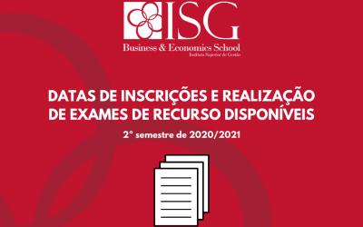 Datas de Inscrições e Realização de Exames de Recursos Disponíveis – 2.º Semestre 2020 2021